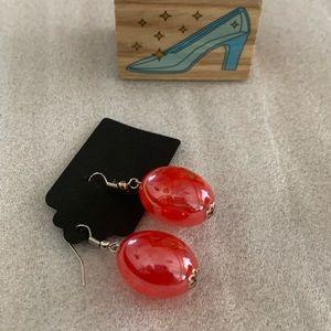 Vintage Blossom Red Resin Ball Earrings